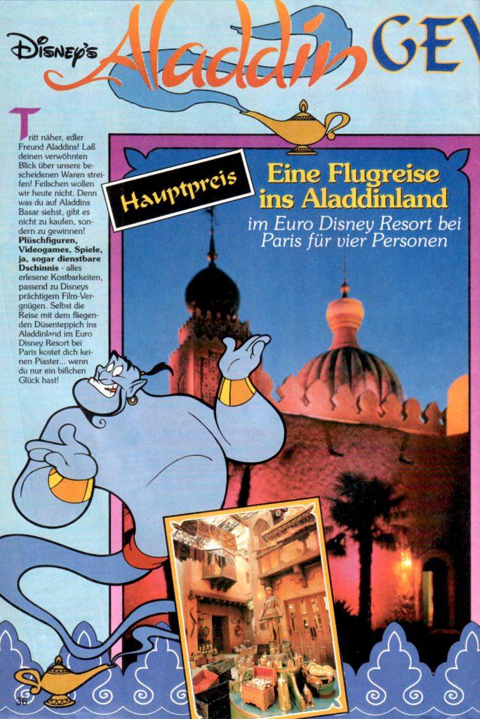 Werbeanzeige für Disney's Aladdin ink. der Erwähnung des SEGA Mega Drive Spiels. Micky Maus Magazin Extraheft von 1993. (Bildrechte: Egmont Ehapa Media GmbH)