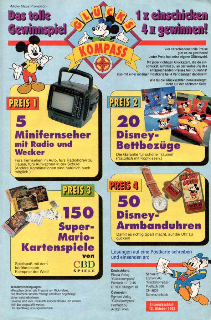 Werbeanzeige für verschiedene Produkte inkl. Super-Mario-Kartenspiele von CBD. Micky Maus Magazin von 1992. (Bildrechte: Egmont Ehapa Media GmbH)