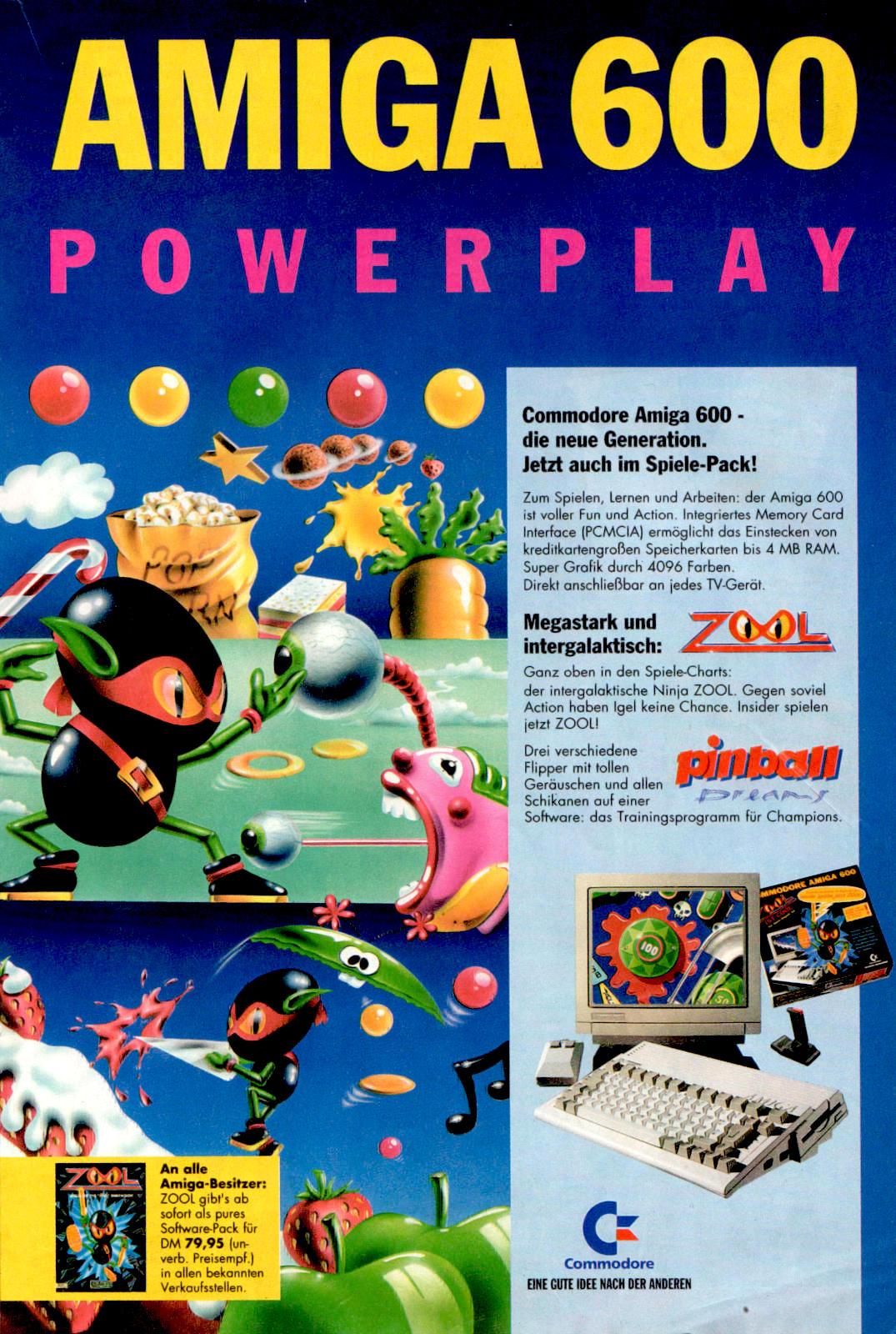 Werbeanzeige für den Commodore Amiga 600 und die Spiele Zool, sowie Pinball Dreams. Micky Maus Magazin, Ausgabe Nr. 22 vom 27.05.1993. (Bildrechte: Egmont Ehapa Media GmbH)