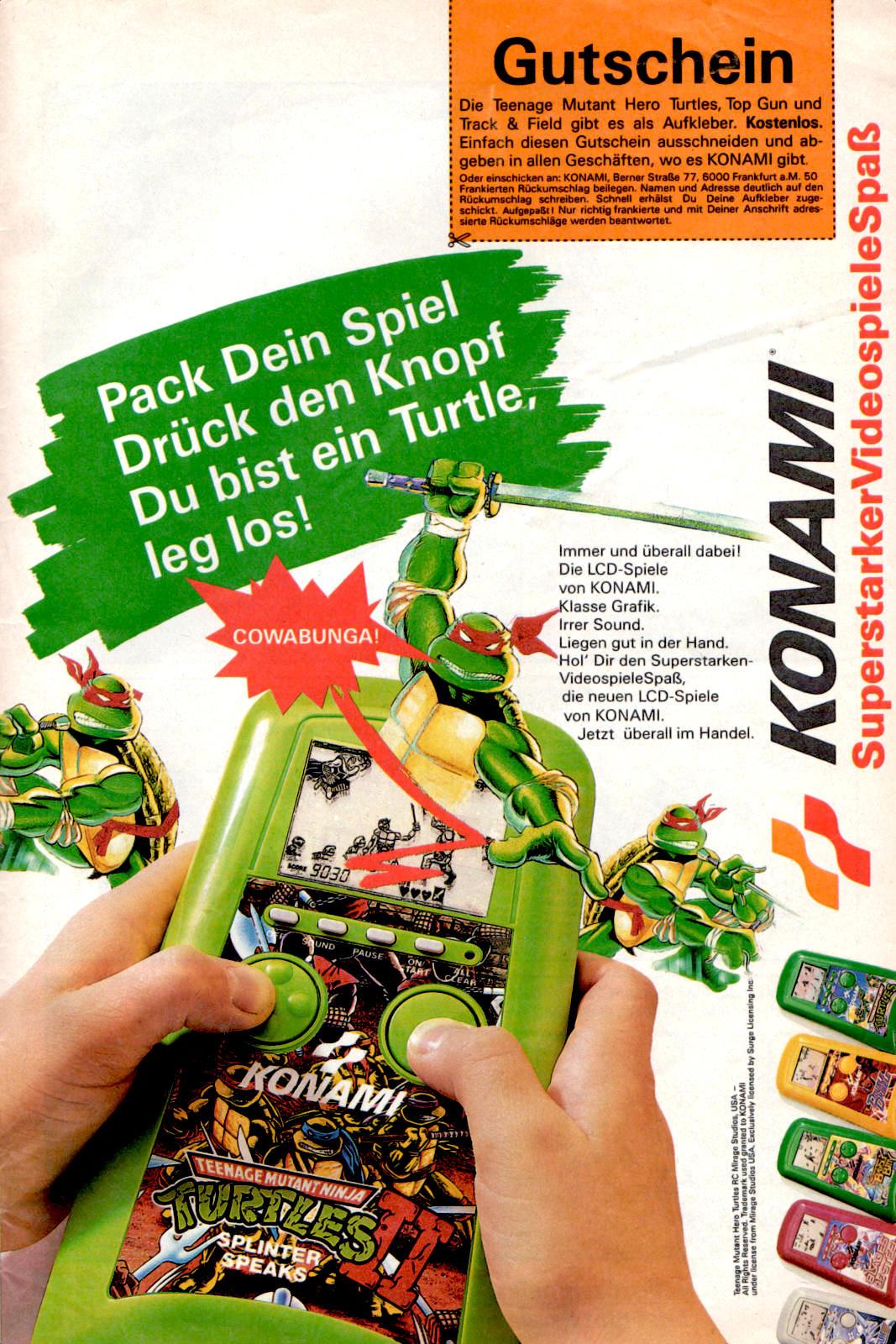 Werbeanzeige für Konami LCD-Spiel Teenage Mutant Ninja Turtles Splinter Speaks. Micky Maus Magazin, Ausgabe Nr. 23 vom 29.05.1991. (Bildrechte: Egmont Ehapa Media GmbH)