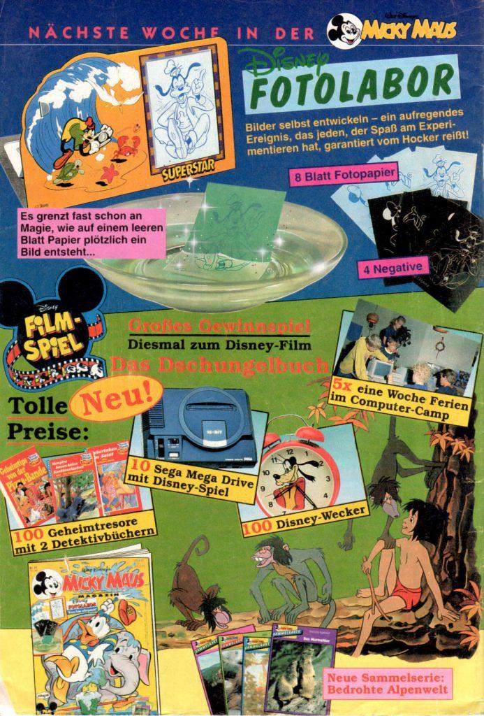 Werbeanzeige für ein Gewinnspiel inkl. einer Darstellung des SEGA Mega Drive, sowie eines Computer-Camps. Micky Maus Magazin, Ausgabe Nr. 20 vom 13.05.1993. (Bildrechte: Egmont Ehapa Media GmbH)
