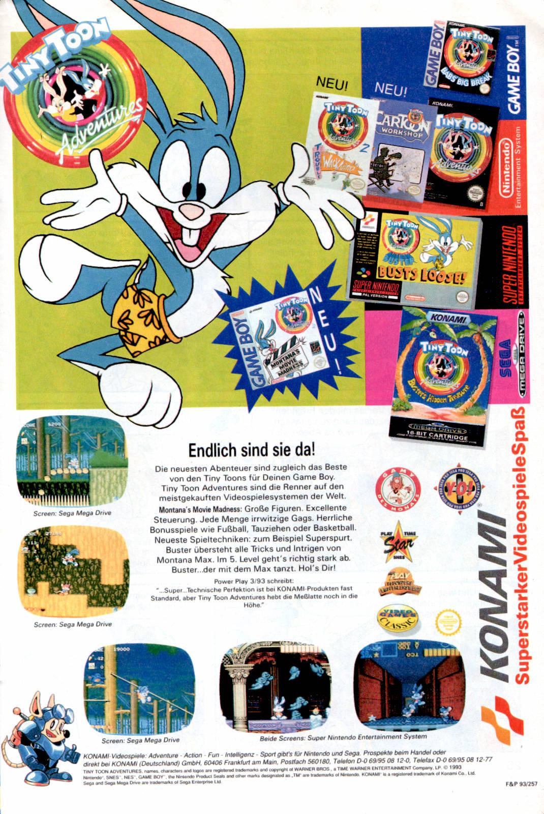 Werbeanzeige für die Tiny Toon Videospielserie von Konami. Micky Maus Magazin, Ausgabe Nr. 46 vom 11.11.1993. (Bildrechte: Egmont Ehapa Media GmbH)