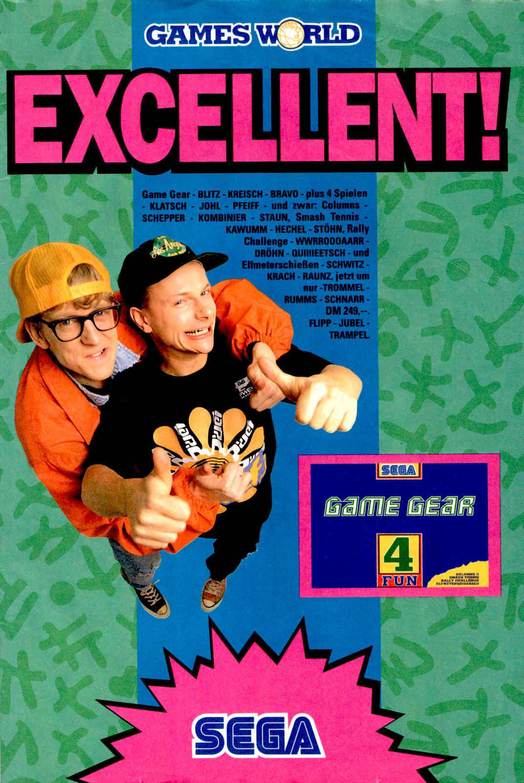 Werbeanzeige für das SEGA Game Gear. Micky Maus Magazin, Ausgabe Nr. 15 vom 07.04.1993. (Bildrechte: Egmont Ehapa Media GmbH)
