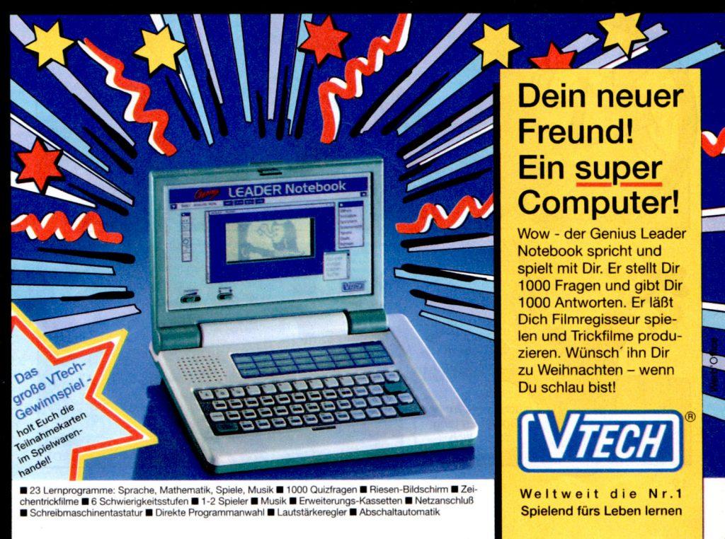 Werbeanzeige für das Genius Leader Notebook von VTech. Micky Maus Magazin, Ausgabe Nr. 46 vom 11.11.1993. (Bildrechte: Egmont Ehapa Media GmbH)