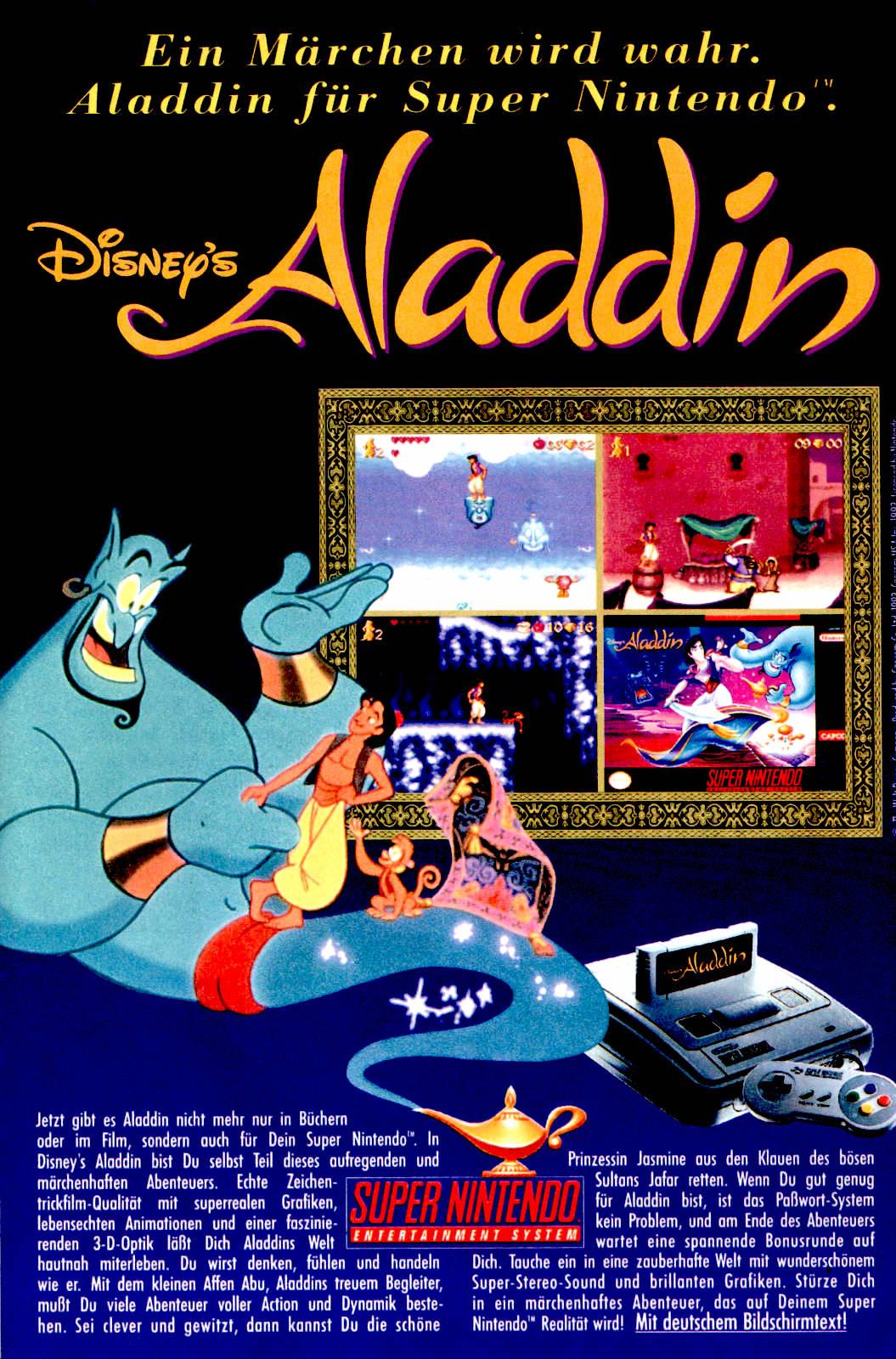 Werbeanzeige für Disney's Aladdin für das Super Nintendo. Micky Maus Magazin, Ausgabe Nr. 46 vom 11.11.1993. (Bildrechte: Egmont Ehapa Media GmbH)