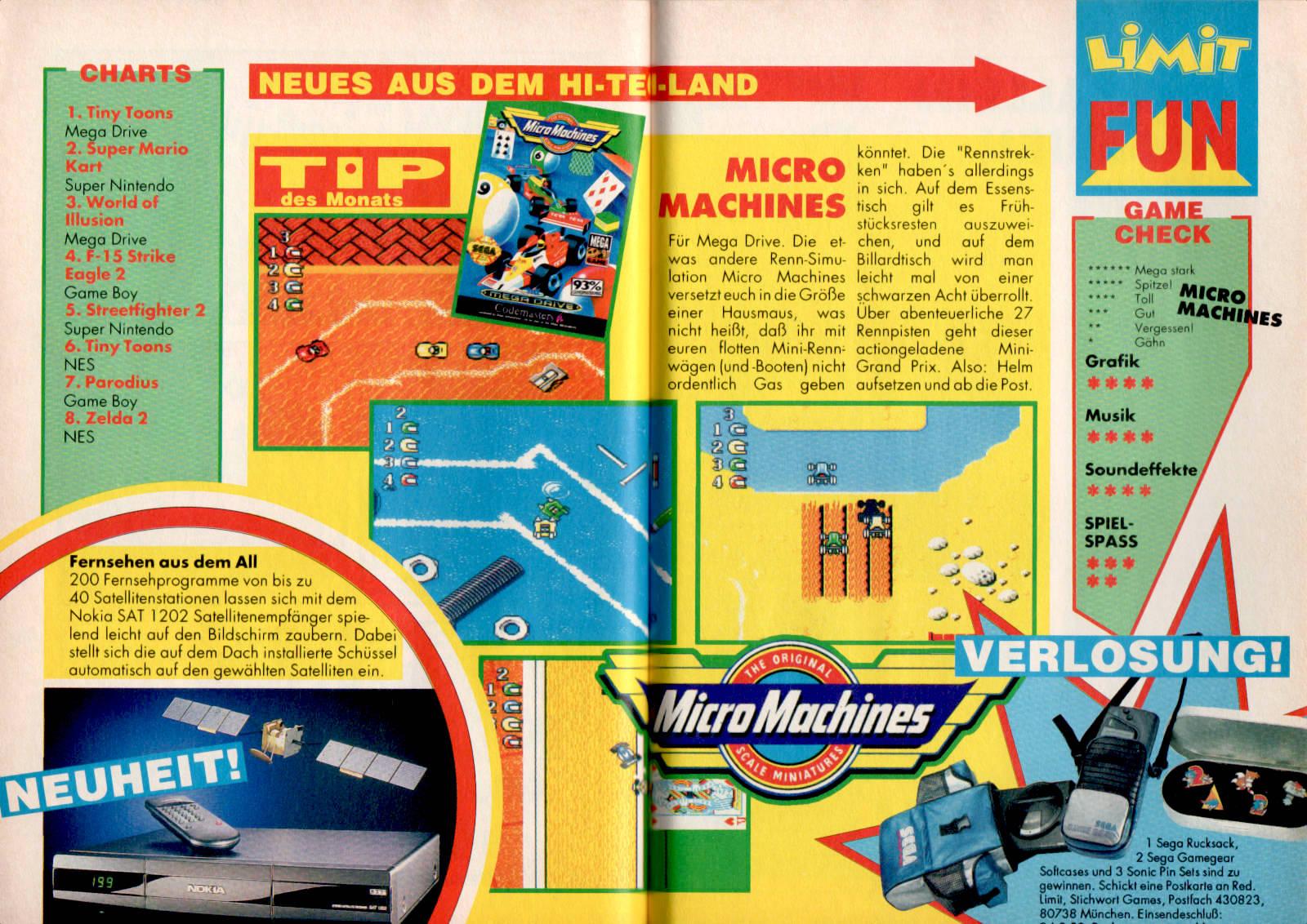 Werbeanzeige für Micro Machines für das SEGA Mega Drive inkl. SEGA Zubehör. Disney's LIMIT Magazin, Ausgabe Nr. 8 vom August 1993. (Bildrechte: Egmont Ehapa Media GmbH)