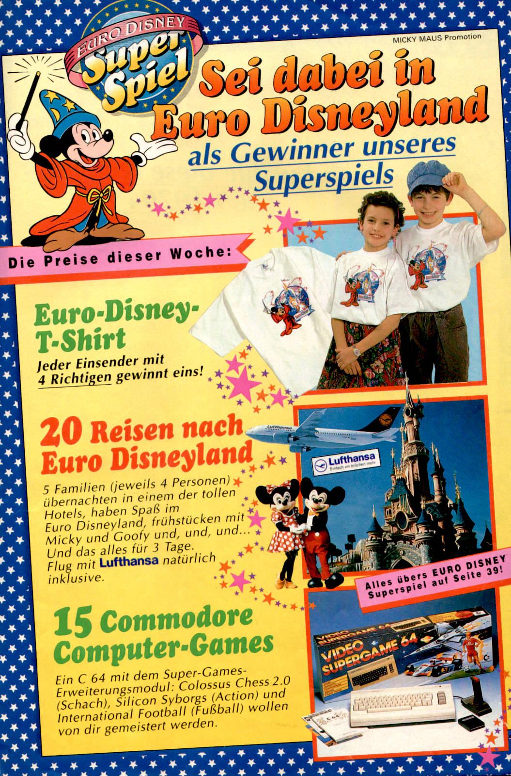 Werbeanzeige für das Euro Disneyland inkl. eines Commodore 64 Video Supergame 64 Pakets. Micky Maus Magazin von 1992. (Bildrechte: Egmont Ehapa Media GmbH)