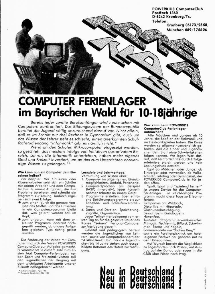 Werbeanzeige des POWERKIDS ComputerClub. (Bild: POWERKIDS ComputerClub)