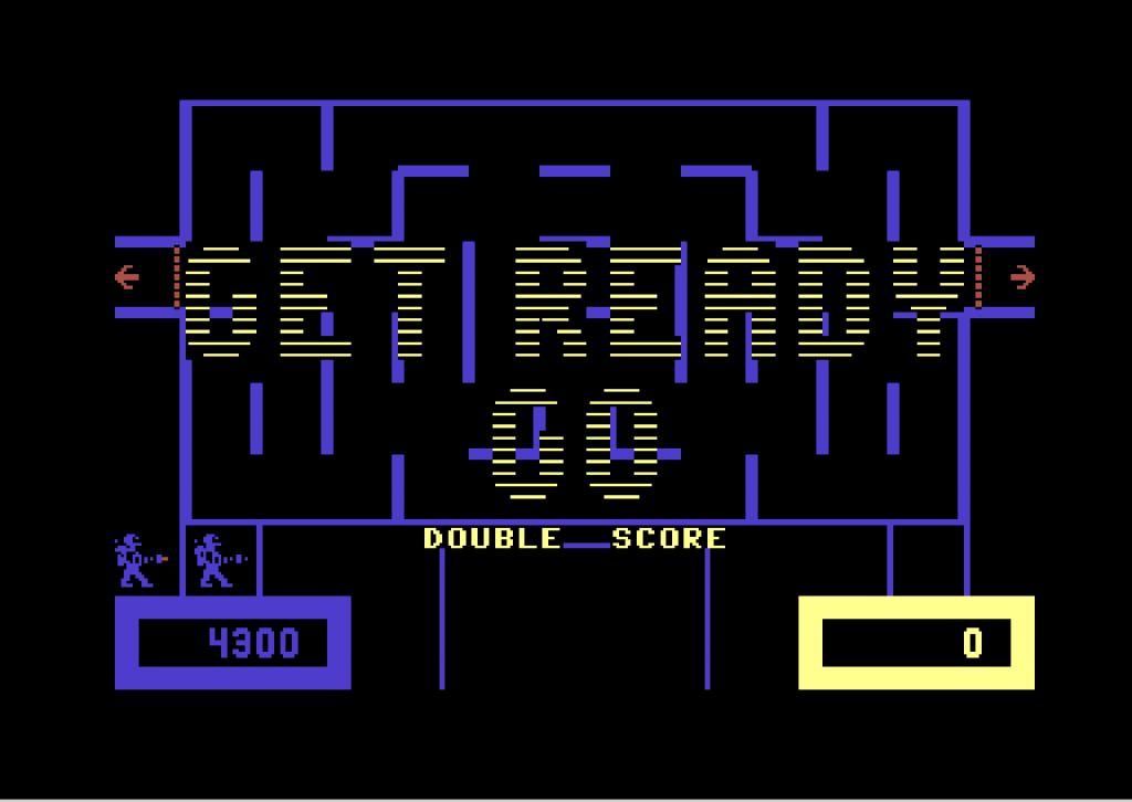 """Wizard of Wor auf dem Commodore 64 von 1982 war herausfordernd und abwechslungsreich. Schnell konnte man unabsichtlich auch den Spielpartner """"abschießen"""". (Bild: Commodore)"""