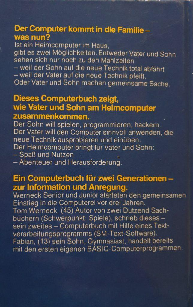 Das Computerbuch für Vater und Sohn, Hardcover, Rückseite. (Bild: Christian Drackert)