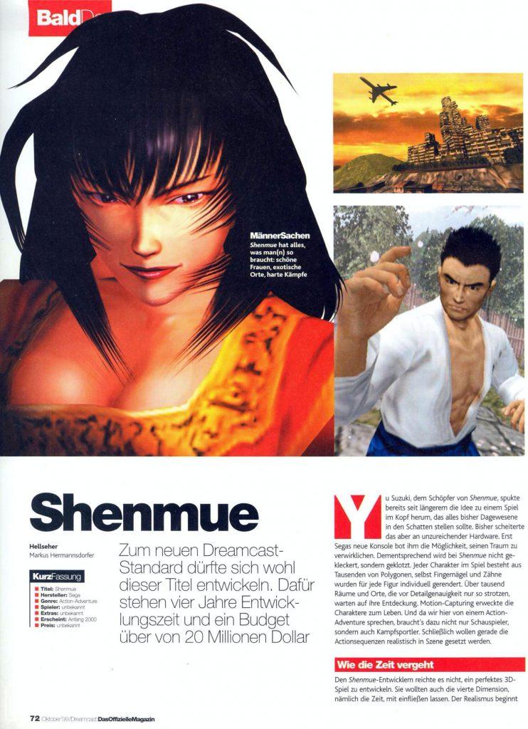 Auf Seite 72 beschäftigte sich das Magazin mit dem damals noch völlig unbekannten Shenmue ... (Bild: Marc Nuttelmann)