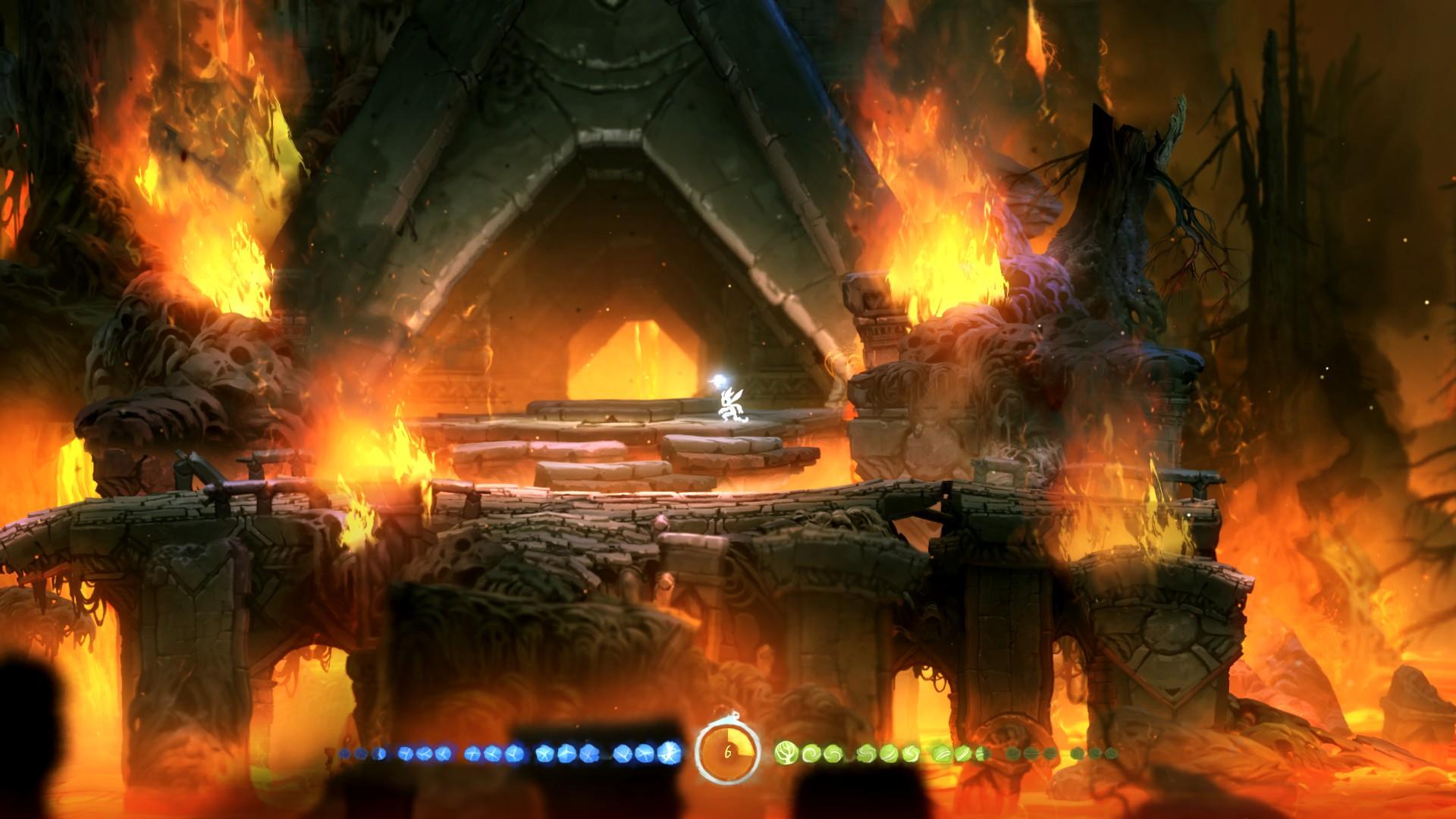 Ori and the Blind Forest: Eingang des Horubergs mit Feuersymbolik. (Quelle: eigener Screenshot)