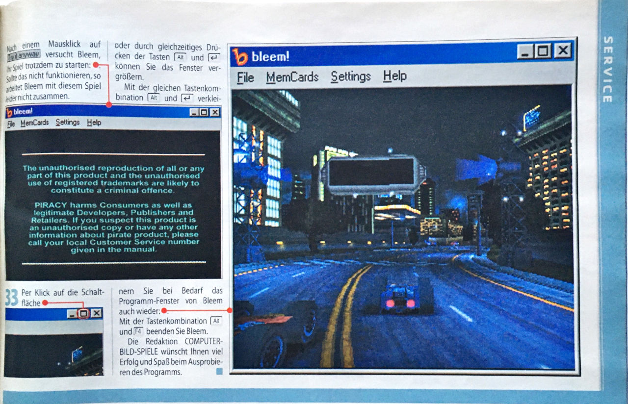 """Mit """"bleem!"""" stellte man recht unkritisch eine Software vor, womit man am PC PlayStation-Spiele ausführen konnte. (Bild: Kevin Puschak)"""