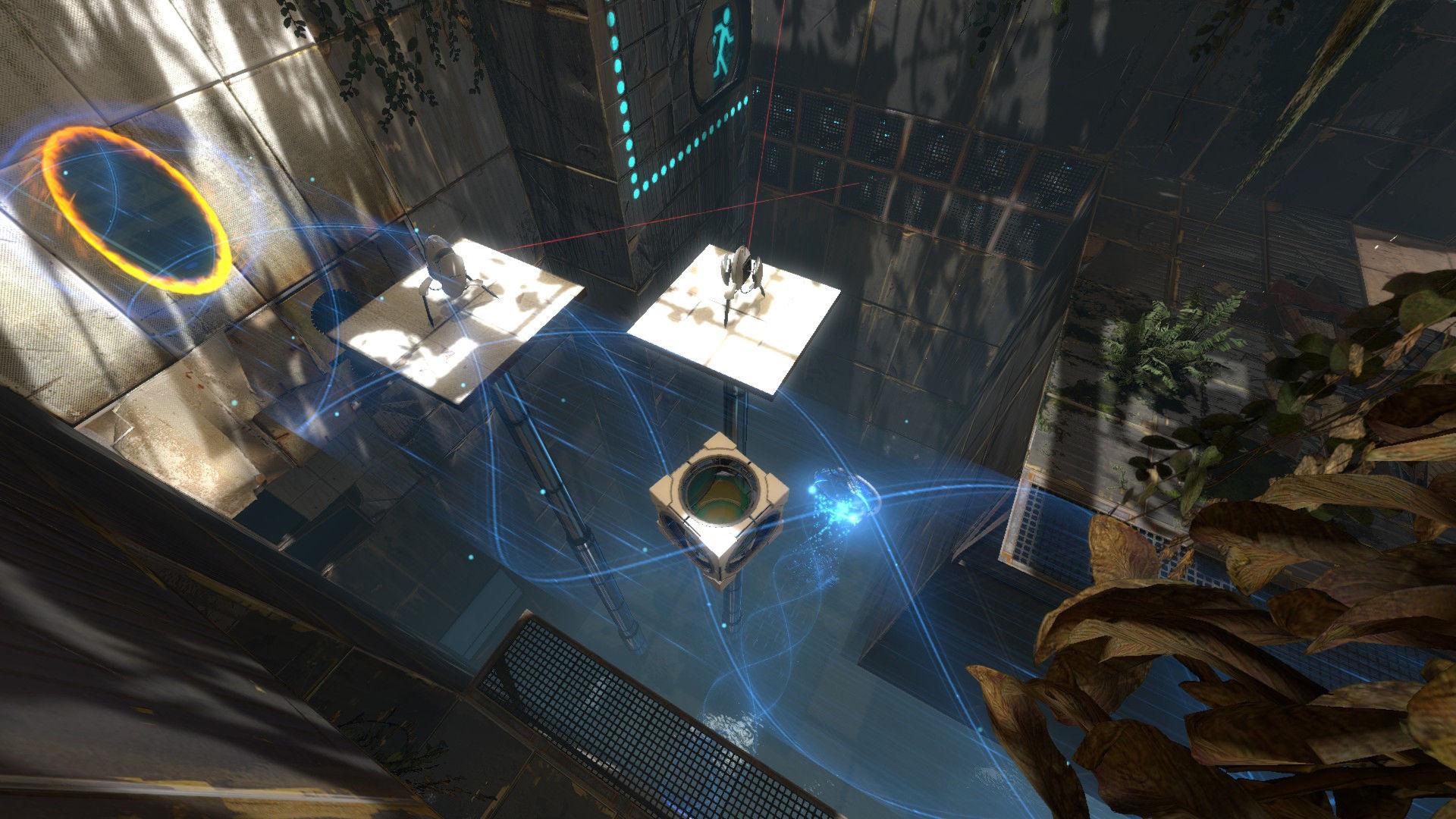 Szene aus Portal 2 mit einer erfrischenden Spielidee: Mit der Portal Gun können auf bestimmten ebenen Flächen wie Wänden und Decke zwei Portale erzeugt werden, die in der Art miteinander in Verbindung stehen, dass ein in das eine Portal eintretender Gegenstand oder der Spieler selbst augenblicklich aus dem anderen Portal unter Beibehaltung von Geschwindigkeit, Winkel und Orientierung austritt. Klingt kompliziert; ist es auch, da es in vielen Leveln anspruchsvolle Kopfarbeit erfordert. (Bild: Valve)