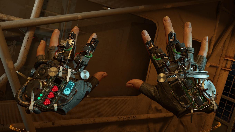 Die Gesundheitsanzeige scheint nun auch im Handschuh integriert zu sein. Auf dem linken Handschuh sieht man drei kleine rote Herzen aufleuchten; fast wie in Zelda. (Bild: Valve)
