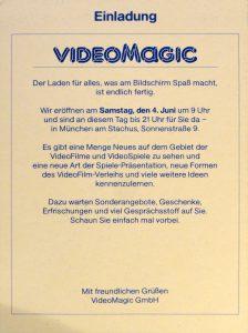 Einladung zur Eröffnung des Ladengeschäfts von VideoMagic am 04.06.1983. (Bild: Guido Frank)