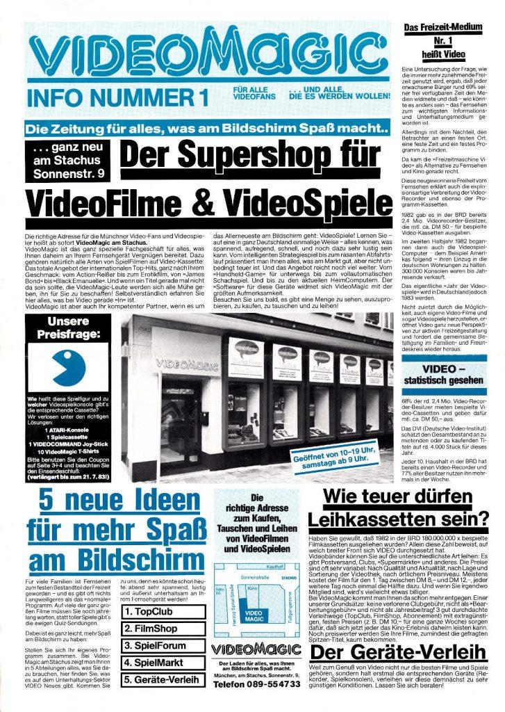 """Die """"VideoMagic-Info, Nummer 1"""", Seite 1 aus dem Juli 1983. (Bild: Guido Frank)"""