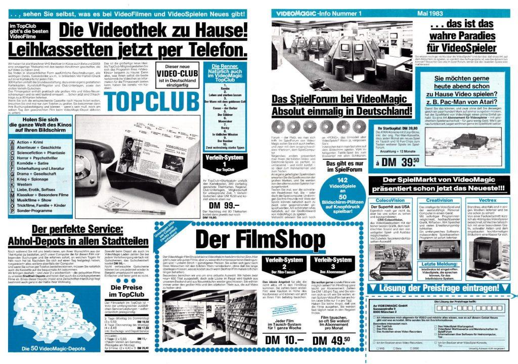 """Die """"VideoMagic-Info, Nummer 1"""", Seite 2 und 3 aus dem Juli 1983. (Bild: Guido Frank)"""