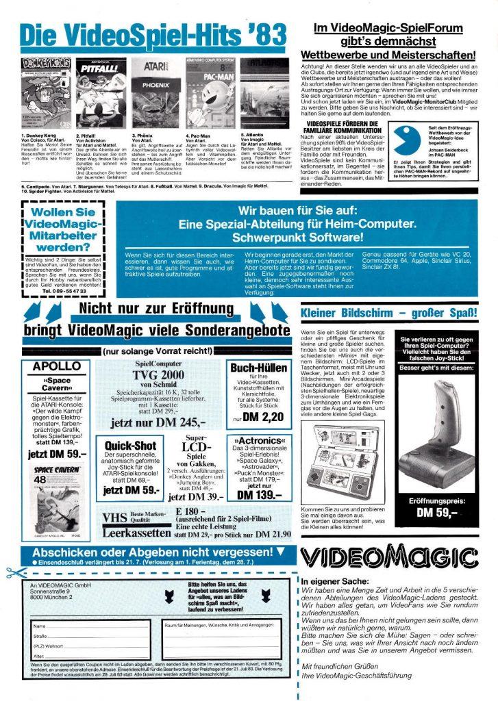 """Die """"VideoMagic-Info, Nummer 1"""", Seite 4 aus dem Juli 1983. (Bild: Guido Frank)"""