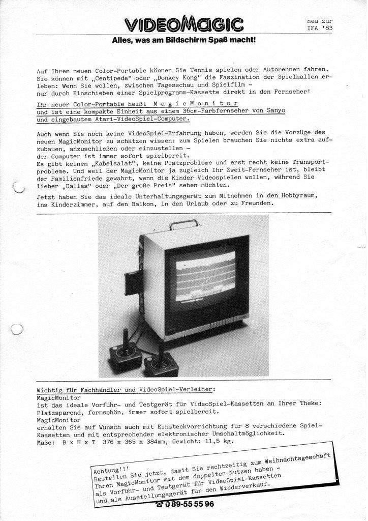 Eine VideoMagic-Anzeige für den MagicMonitor von 1983. Alles, was am Bildschirm Spaß macht! (Bild: M. Cavendish)