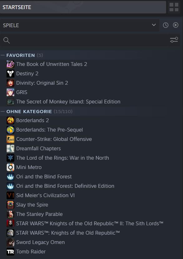 Die Steam-Bibliothek: ein Ort für viele unterschiedliche Spiele (Quelle: Sabine Seggewiß, eigener Screenshot)