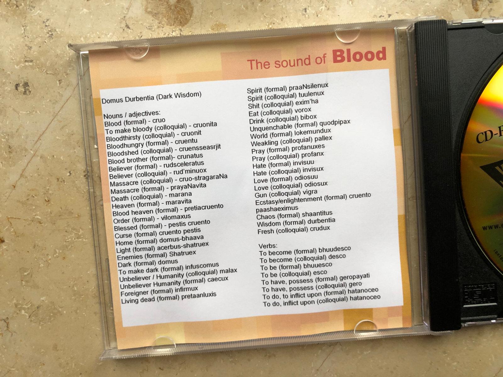 The sound of Blood. Übersicht der im Spiel verwendeten Worte und Verben. (Bild: André Eymann)