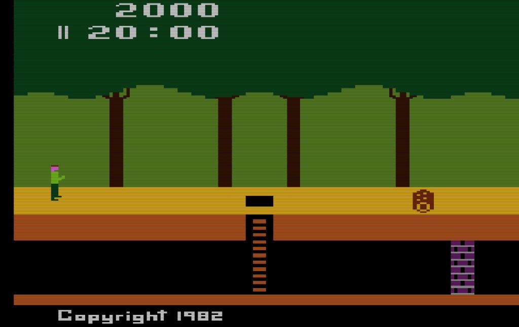 Pitfall! – Diesen Bildschirmausschnitt sieht der Spieler, wenn der das Spiel auf dem Atari VCS beginnt. (Bild: Guido Frank)