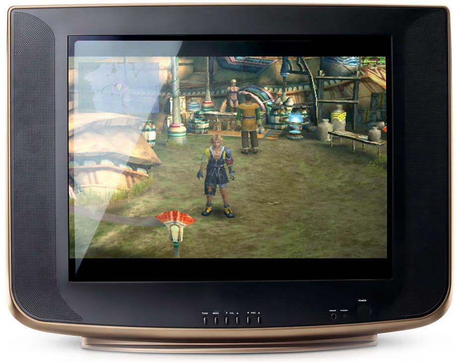 Wie Final Fantasy X auf einem europäischen Fernseher ausgesehen hätte. (Bildmontage: rpg-o-mania)