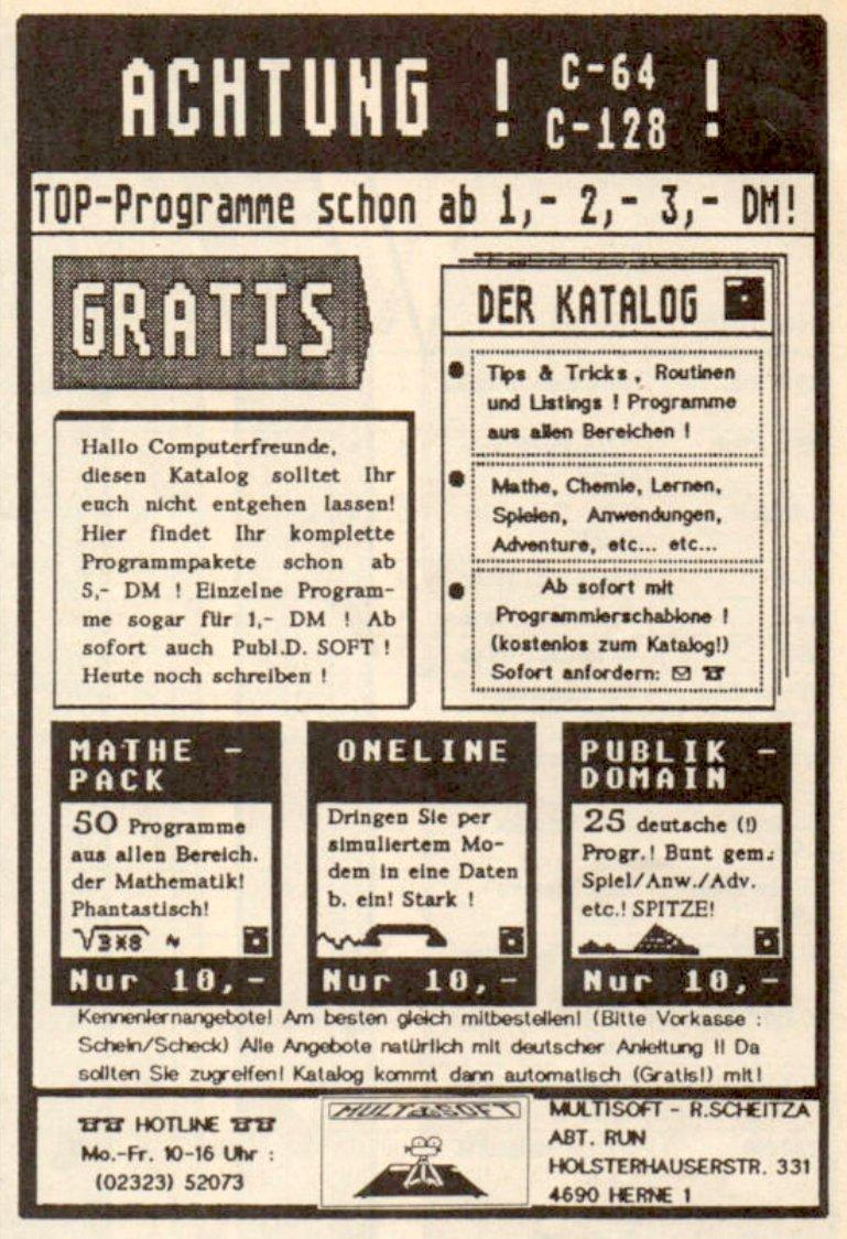 Multisoft-Inserat in der RUN, Ausgabe 08/1987. (Bild: RUN Magazin)