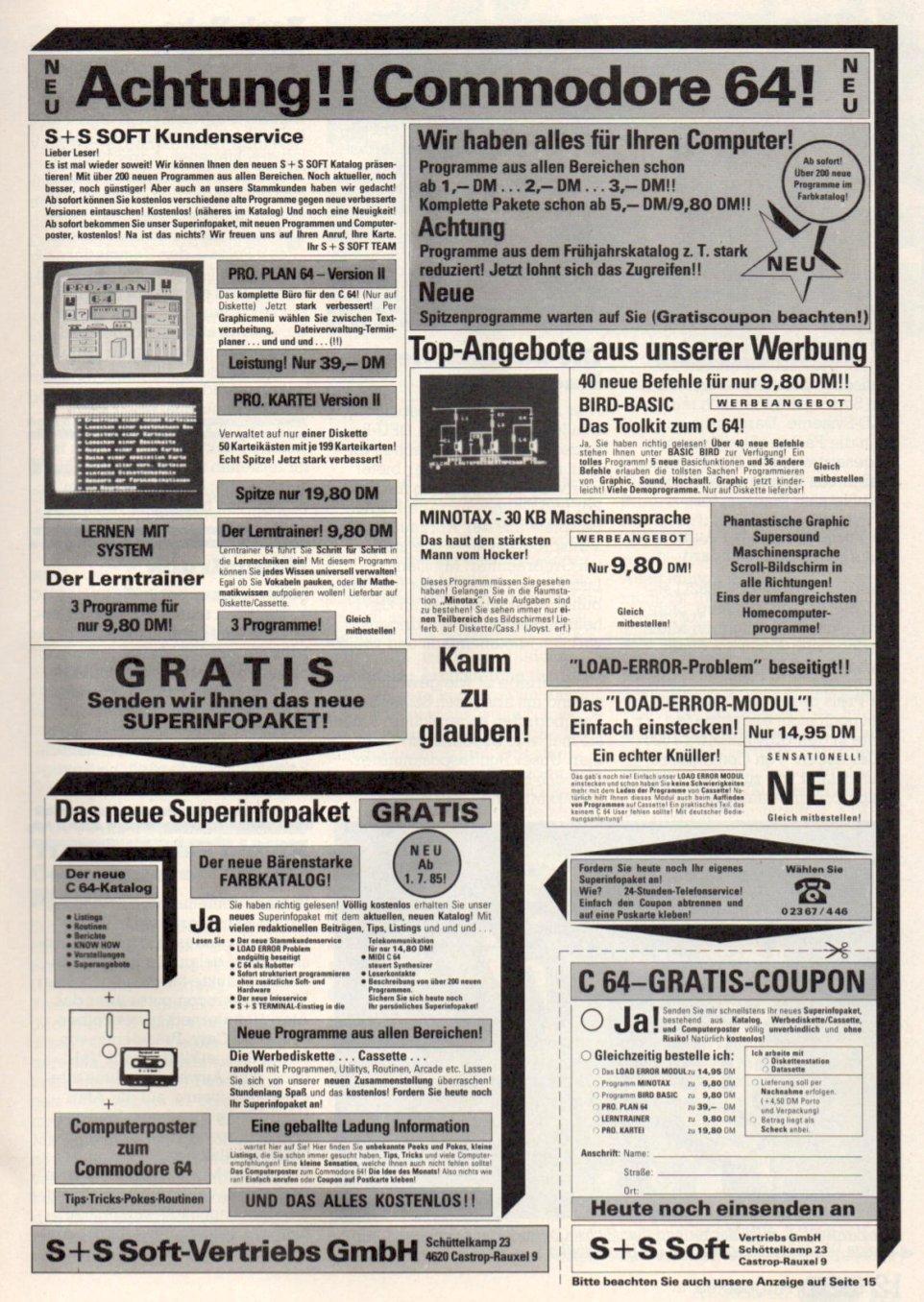 S+S-Inserat in der RUN, Ausgabe 08/1985. (Bild: RUN Magazin)