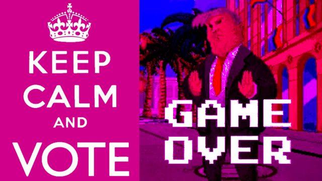 """Bild von Donald Trump aus dem Computerspiel Pride Run, dargestellt als Gegner im Stile eines Mortal Kombat. Darunter der Schriftzug Game Over. Links im Bild steht for einem grellen Hintergrund: """"Keep calm and vote"""""""