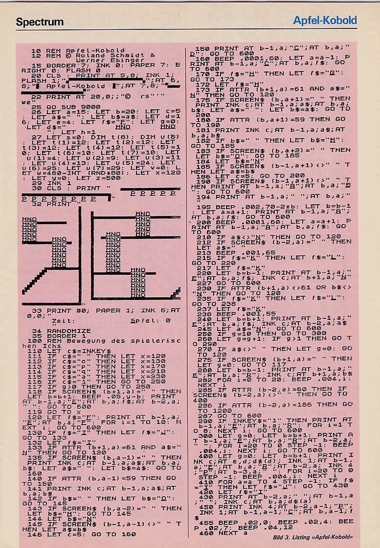 Das BASIC-Listing Apfel-Kobold für den ZX Spectrum von 1984. Das größte Merkmal der Heimcomputer-Ära sind sicher die Listings. Listings waren Computerprogramme in Form von meist BASIC-Programmiercode, die in Heimcomputerzeitschriften wie der Happy Computer abgedruckt wurden und die der User Zuhause abtippen konnte, um das Programm danach auf seinem Computer ablaufen lassen zu können. (Bild: Markt & Technik Verlag)