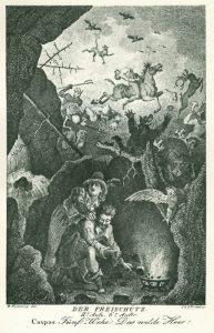 """Erscheinung des """"Wilden Heeres"""" in """"Der Freischütz"""". Künstler: Johann Heinrich Ramberg. (Bild: goethezeitportal.de)"""