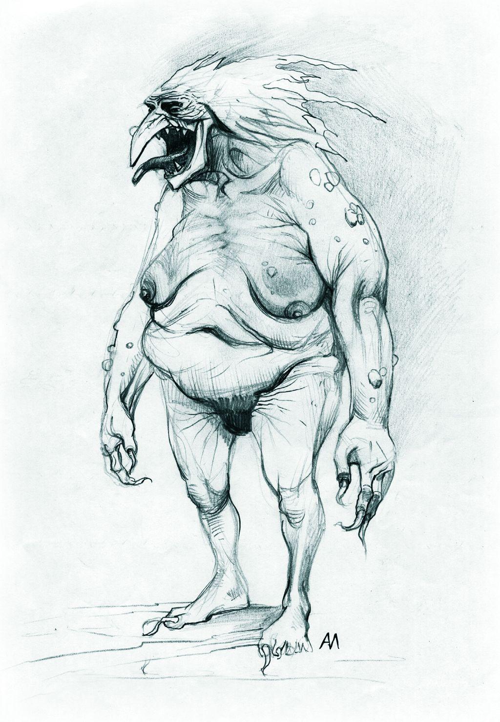 Ganz schön hässlich: Eine Konzeptzeichnung des Verschlingers. (Bild: witcher.wikia.com)