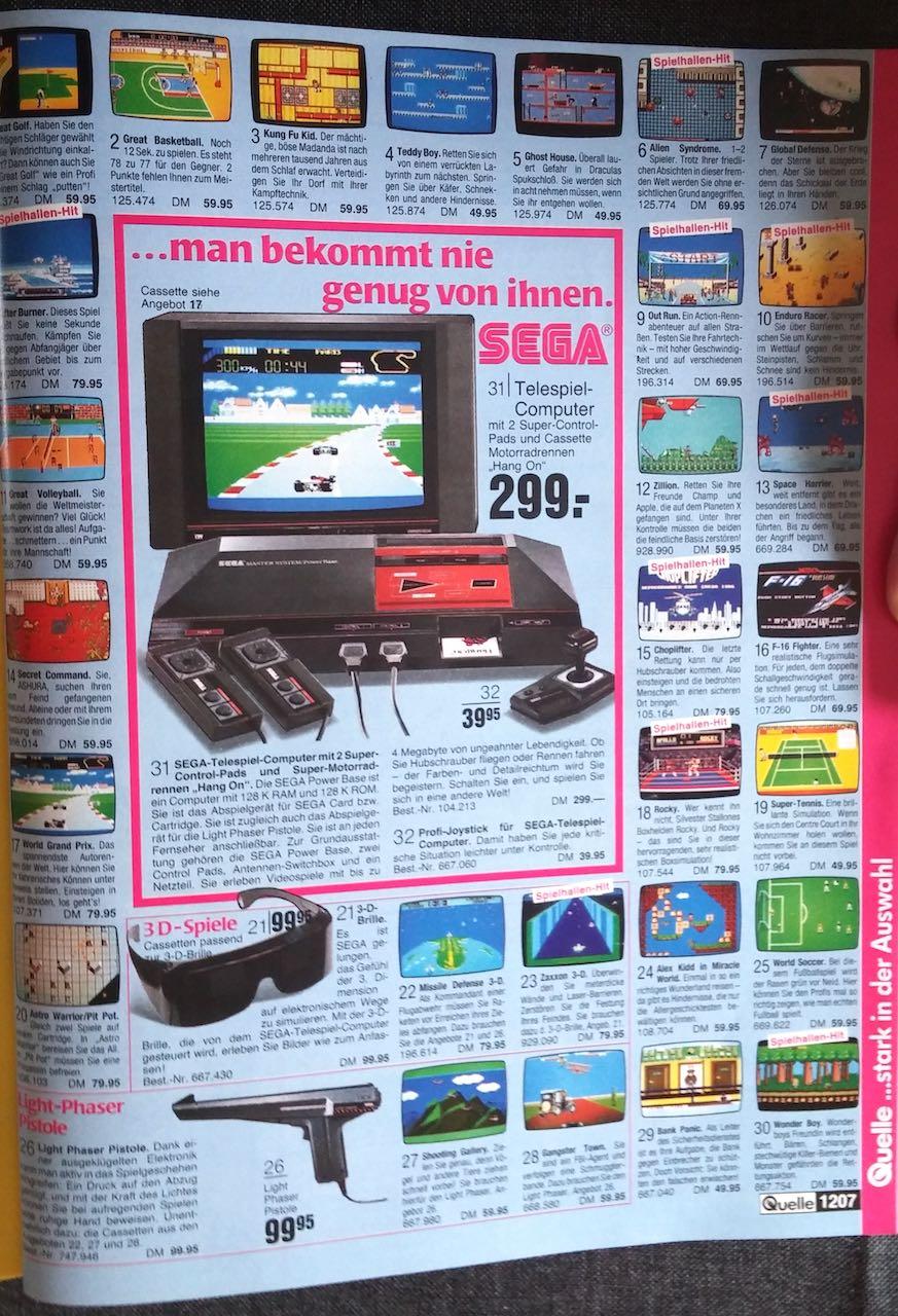Werbung für das SEGA Master System in einem OTTO-Katalog der 80er Jahre. (Bild: Christian Klein, www.thelegacy.de)
