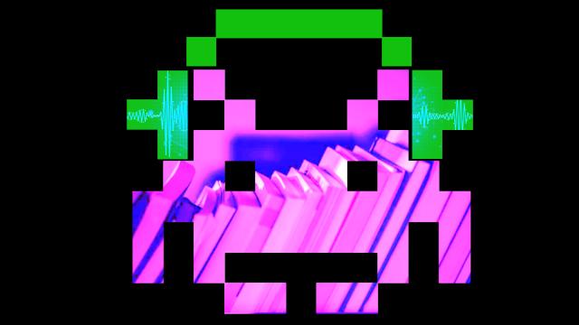 Darstellung eines Pixelaliens aus dem Spiel Space Invadors mit durchschimmerndern Büchern. Er trägt Kopfhörer und hört offenbar einen Podcast.
