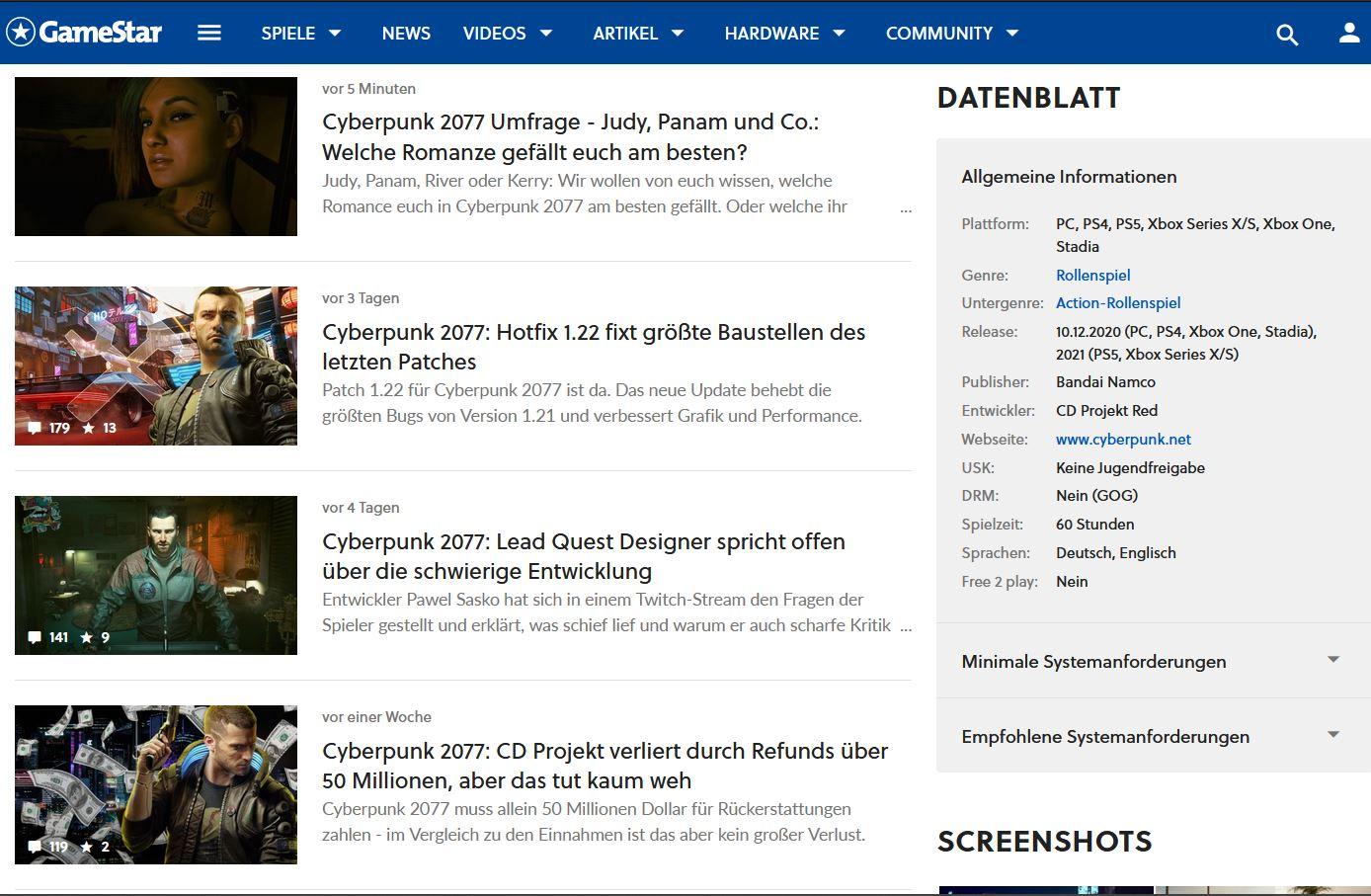 Screenshot GameStar.de, 01.05.21: Keine drei Tage ohne Cyberpunk 2077.