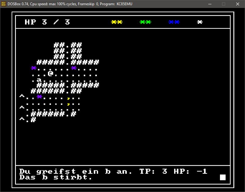 """Weihnachten 2020 tauchte ich in eine Retro-Programmiererfahrung ein und schrieb ein rogulike für den DDR-""""Kleincomputer KC85/4"""". Dazu nutzte ich KC85EMU als Emulator, der wiederum in einer DOSBox läuft."""