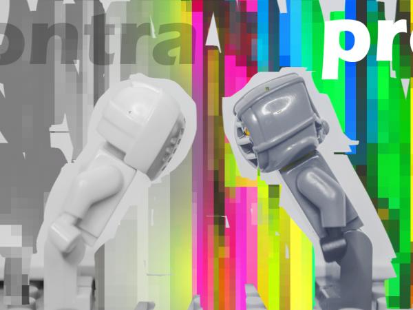 Zwei Lego-Kampffiguren, die sich voreinander verbeugen, bereit zum Kampf gegeneinander. Darüber der jeweils der Schriftzug Pro und Contra