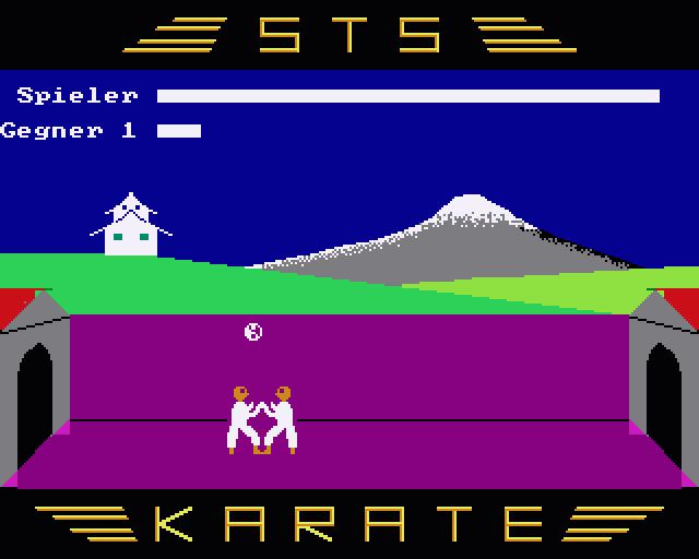 """Manche Spiele erinnerten mit bunten Hintergründen und flüssigen Animationen an """"richtige"""" Spiele, wie man sie sonst nur von Westcomputern kannte. Hier """"Karate"""" von Stefan Scholz"""