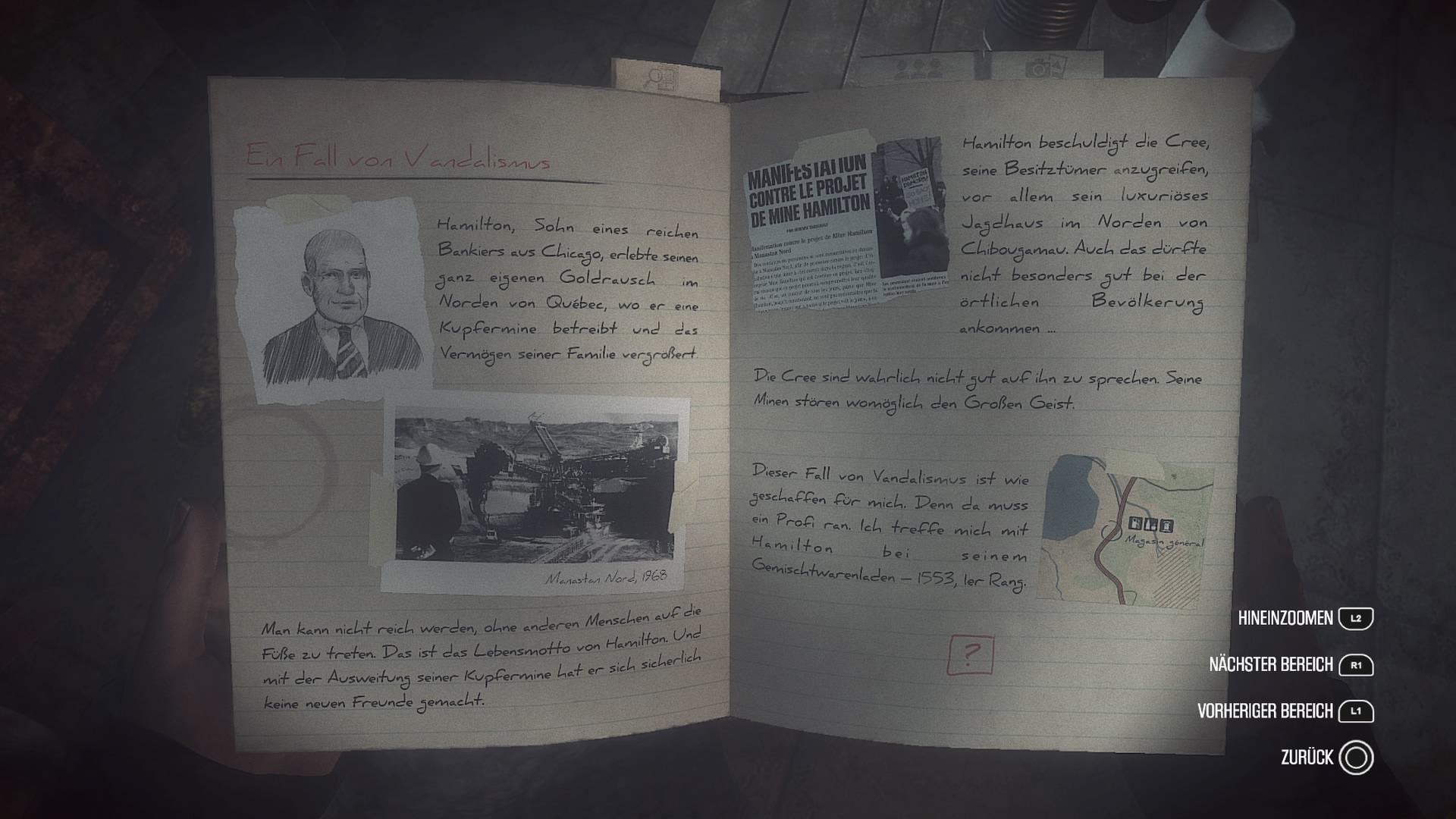 Carls Notizbuch ist eine hilfreiche Stütze für die Ermittlungen.