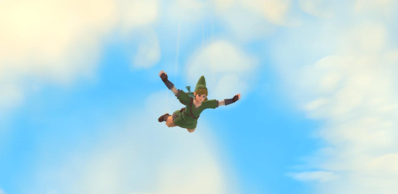 Link stürzt vom Himmel.