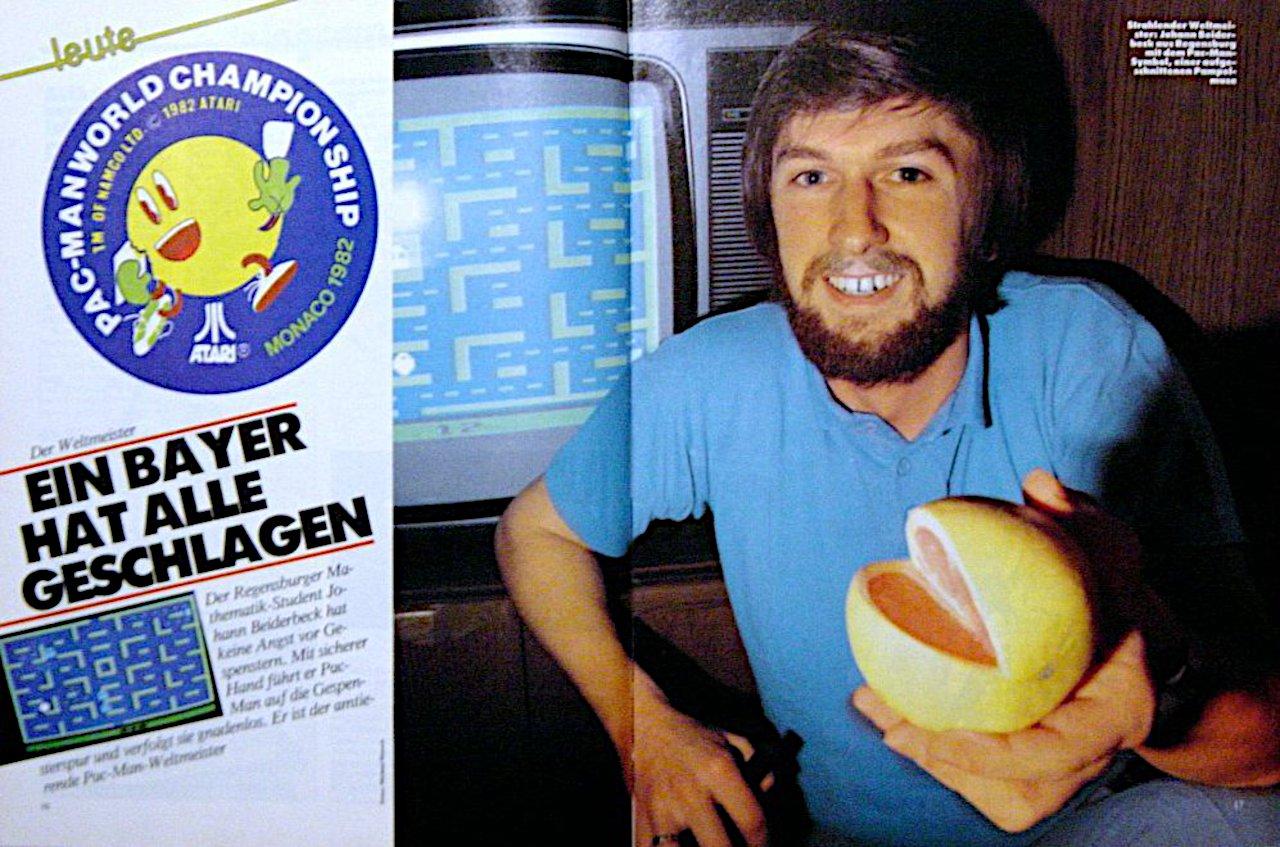 Johann Beiderbeck in einem tele action-Bericht zur Pac-Man Weltmeisterschaft. (Bild: Ehapa-Verlag)